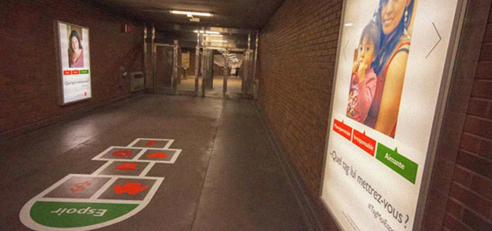 Mega Lit with floor decal in corridor